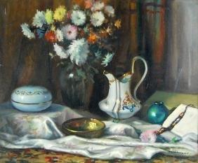 """Ferenc Vardeak """"Still Life"""" Oil Painting"""