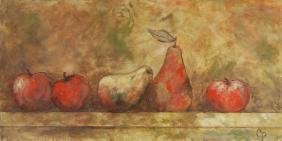 Signed CP Still Life Apples and Pears