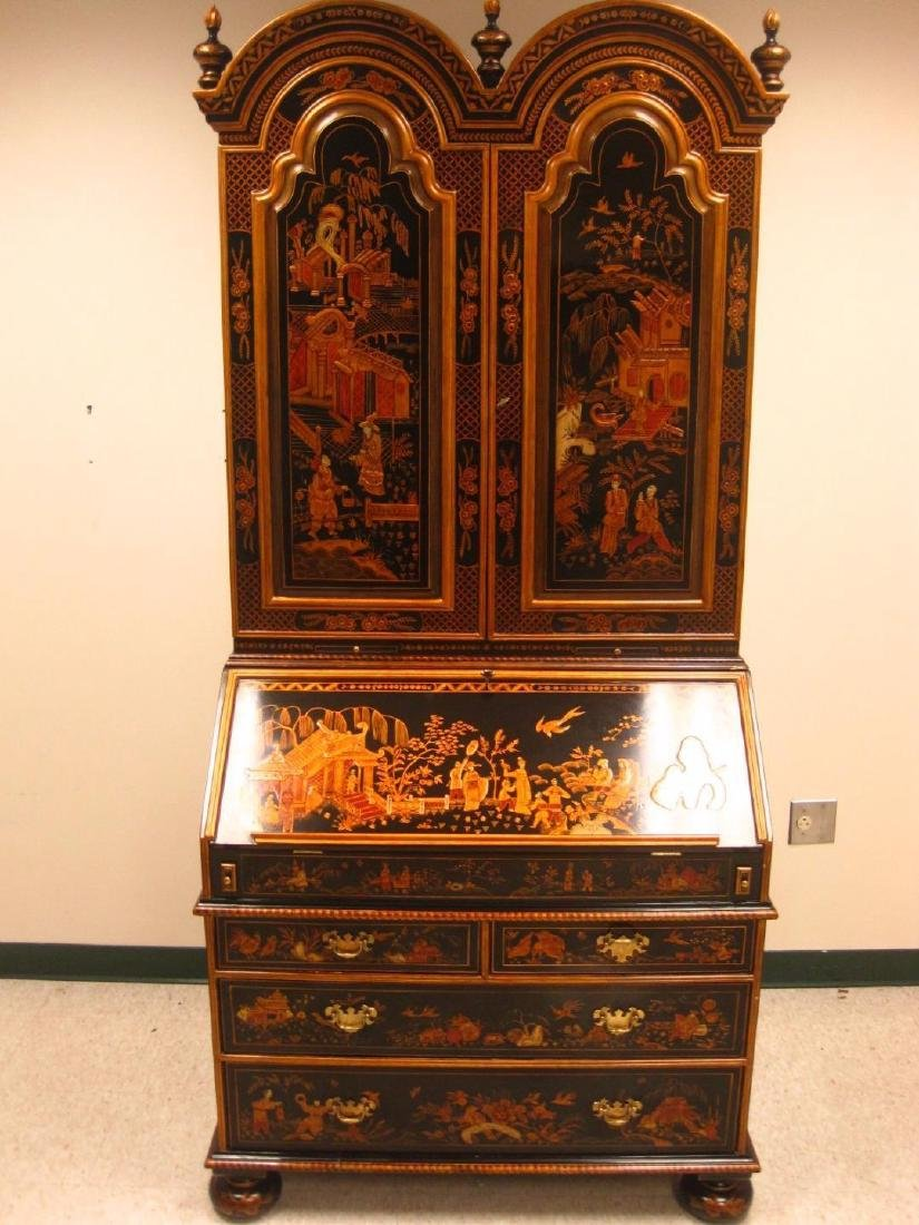 Maitland Smith Hand Paint Chinoiserie Wood Secretary