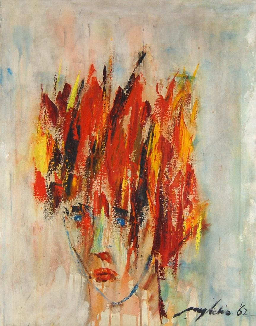 Surreal Expressionist Sad Man On Fire Oil Painting