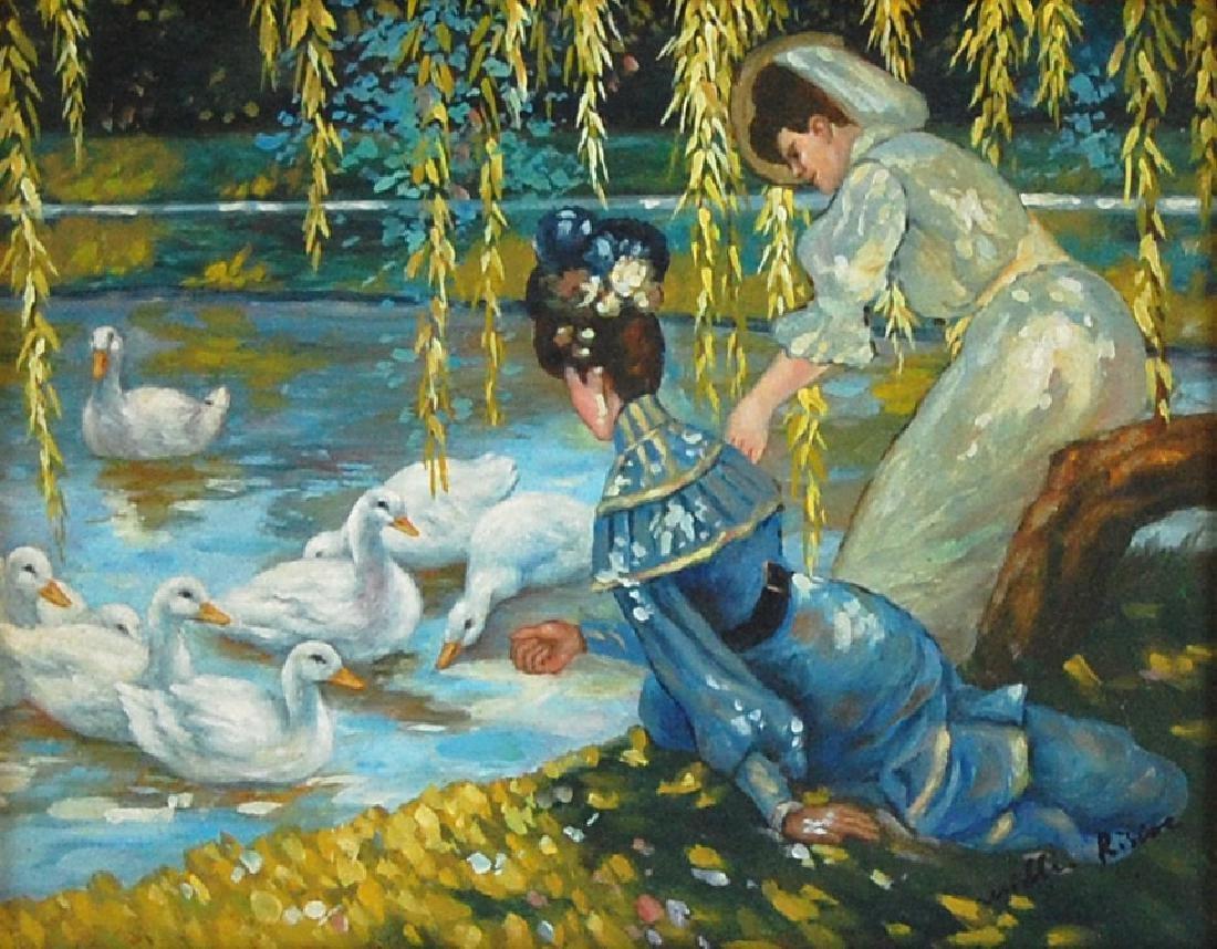 Riscoe Ladies Feeding Ducks Post-impressionist Oil