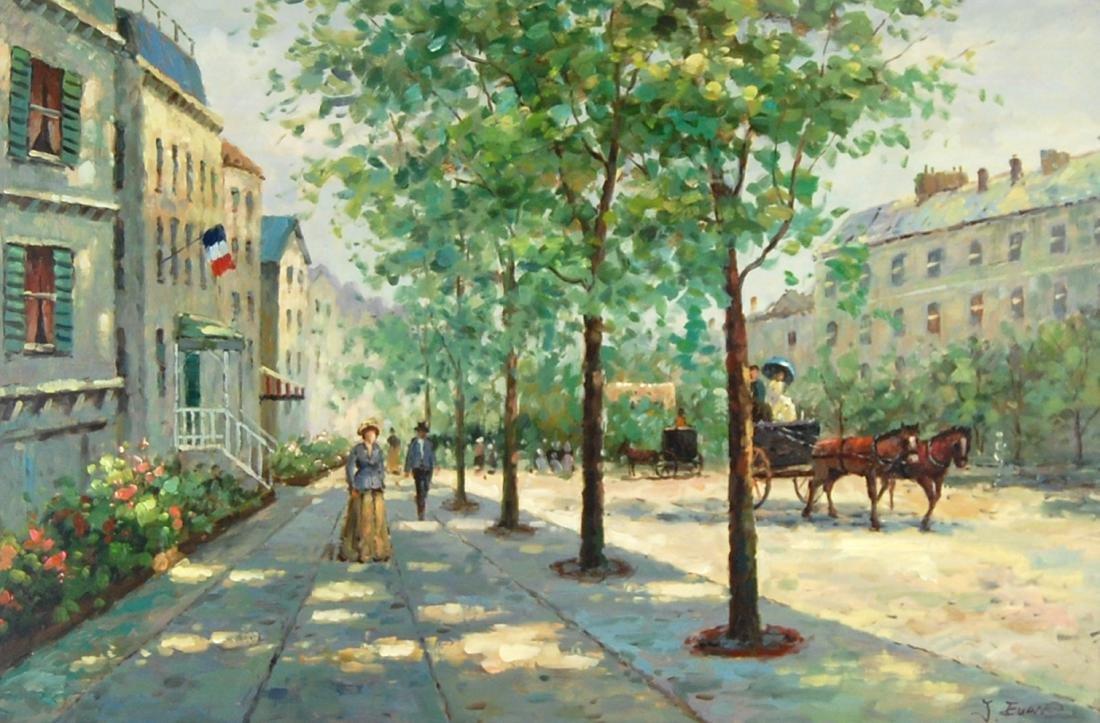 J Evans Sunday Town Stroll Post-Impressionism Oil Paint