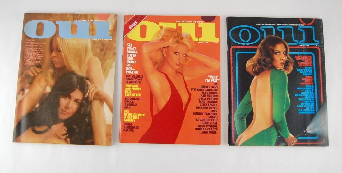 3 1970's Oui Adult Nude Erotic Men's Magazine