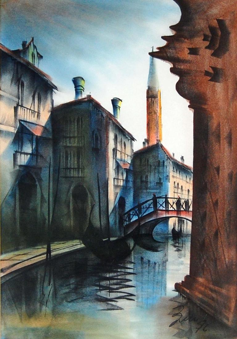 Venice Italy Morning Boat Ride Landscape Watercolor
