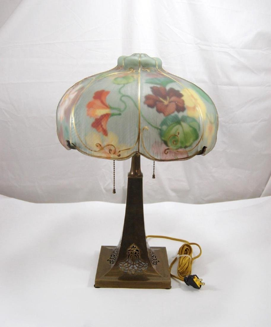 PairPoint Hand Painted Glass Puffy Floral Lamp Brass