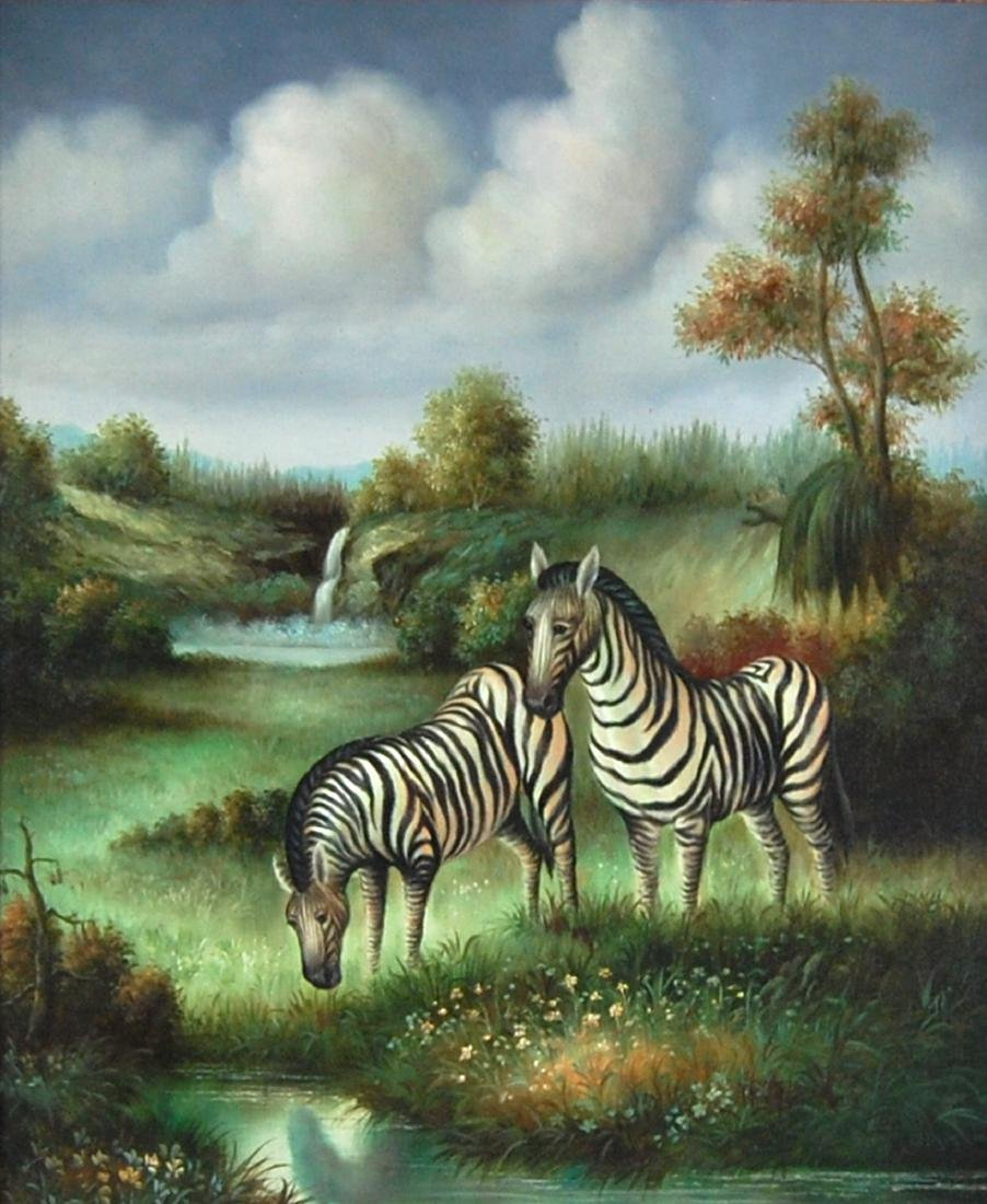 Zebras At The Watering Hole Contemporary Oil Painting