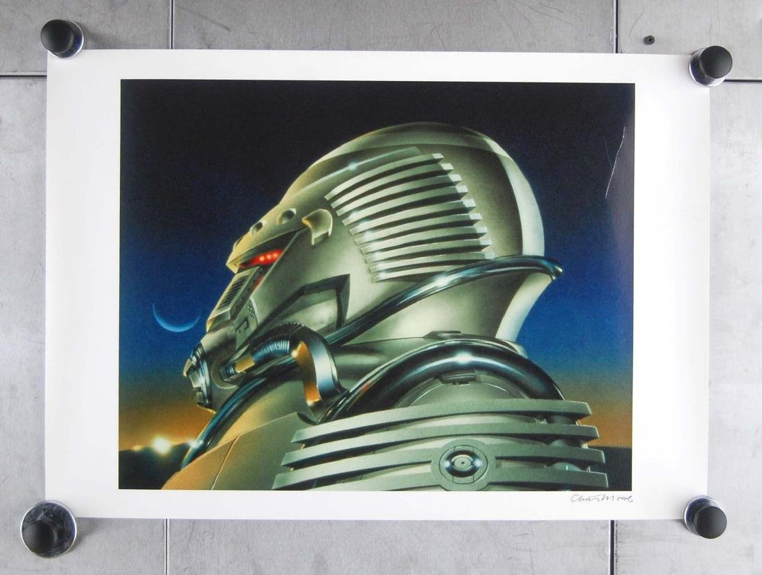 Chris Moore Signed Robot Space Science Fiction Art