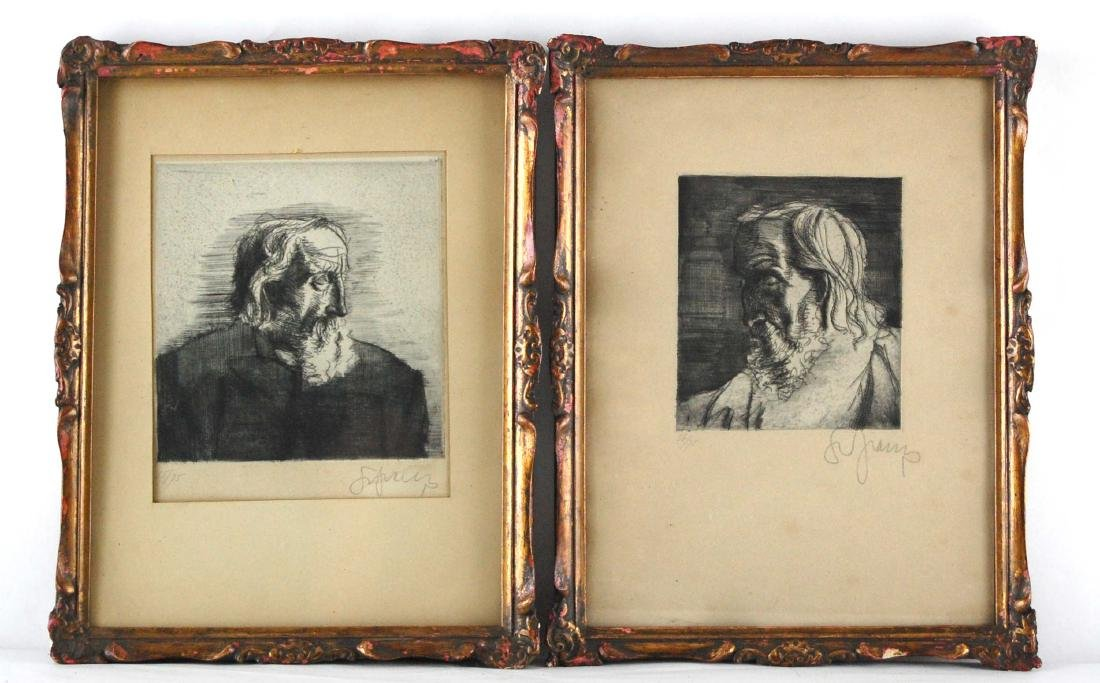2 Greek Bearded Men Portraits Ink Gravure Etching