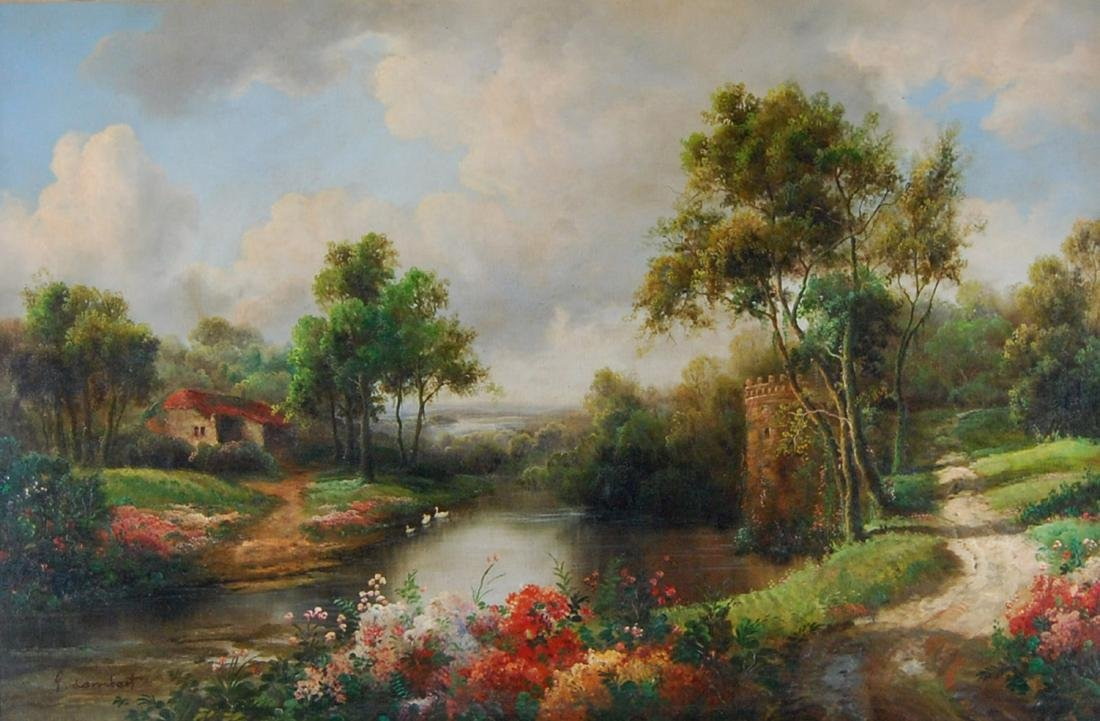 Georges Lambert English Country Landscape Realist Oil