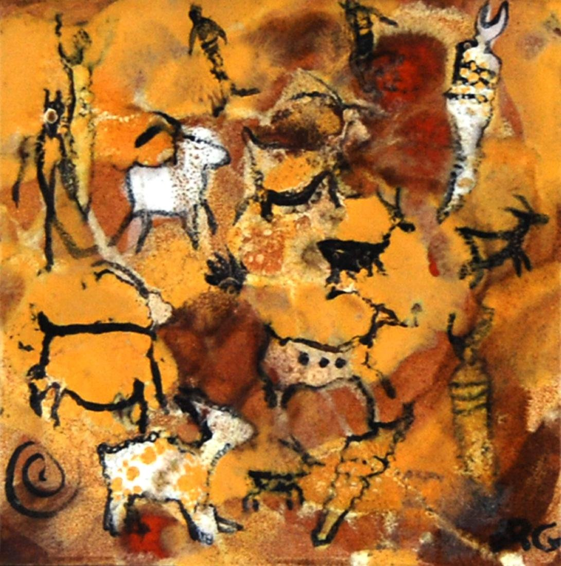 Ceramic Glazed Abstract Contemporary Cave Painting Tile