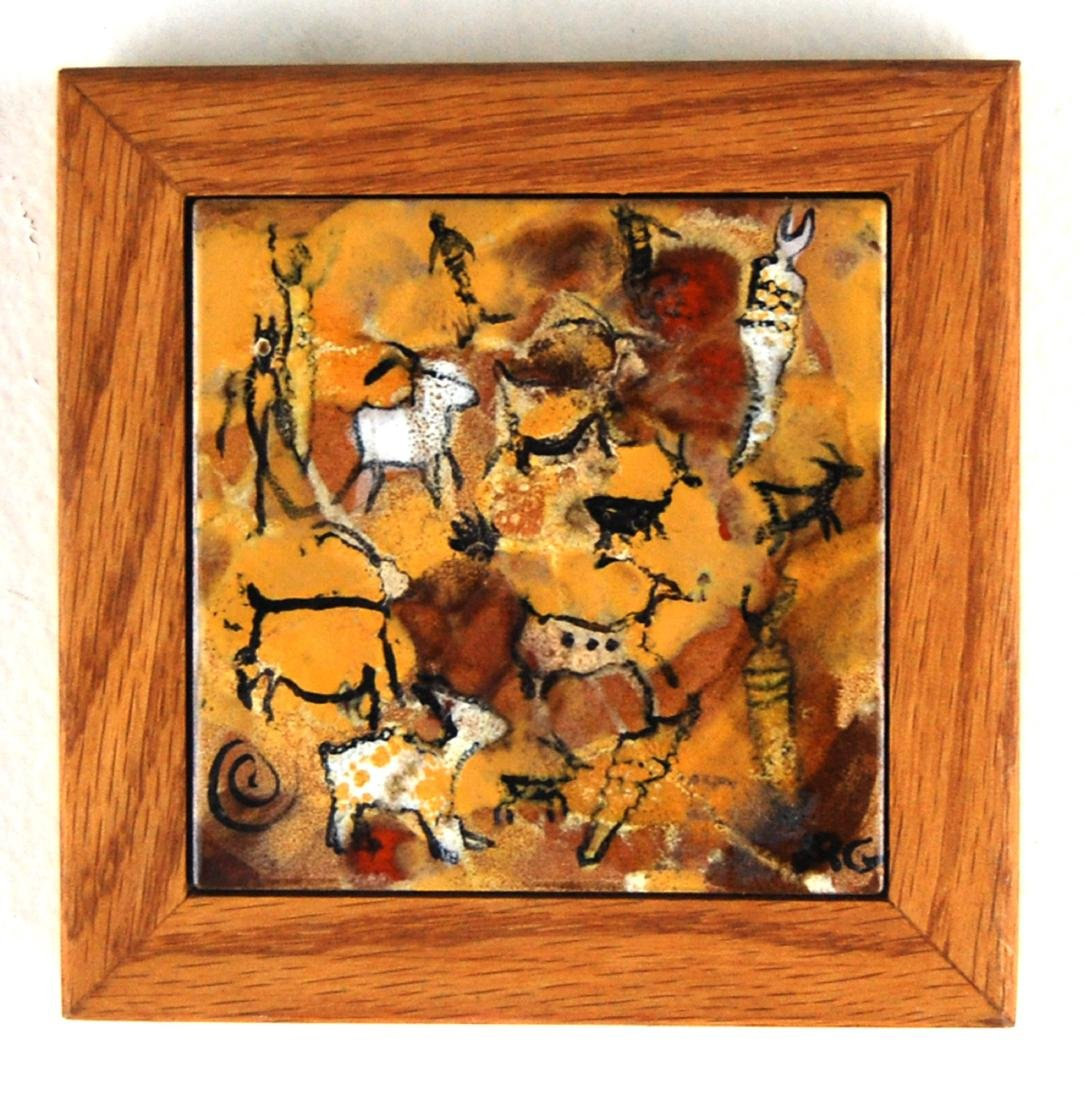 Ceramic Glazed Abstract Contemporary Cave Painting Tile - 2