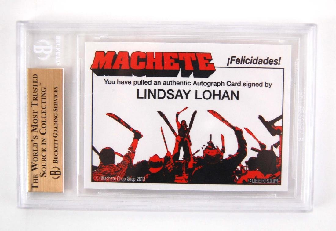 Lindsay Lohan Signed April Booth Machete Movie Card - 3