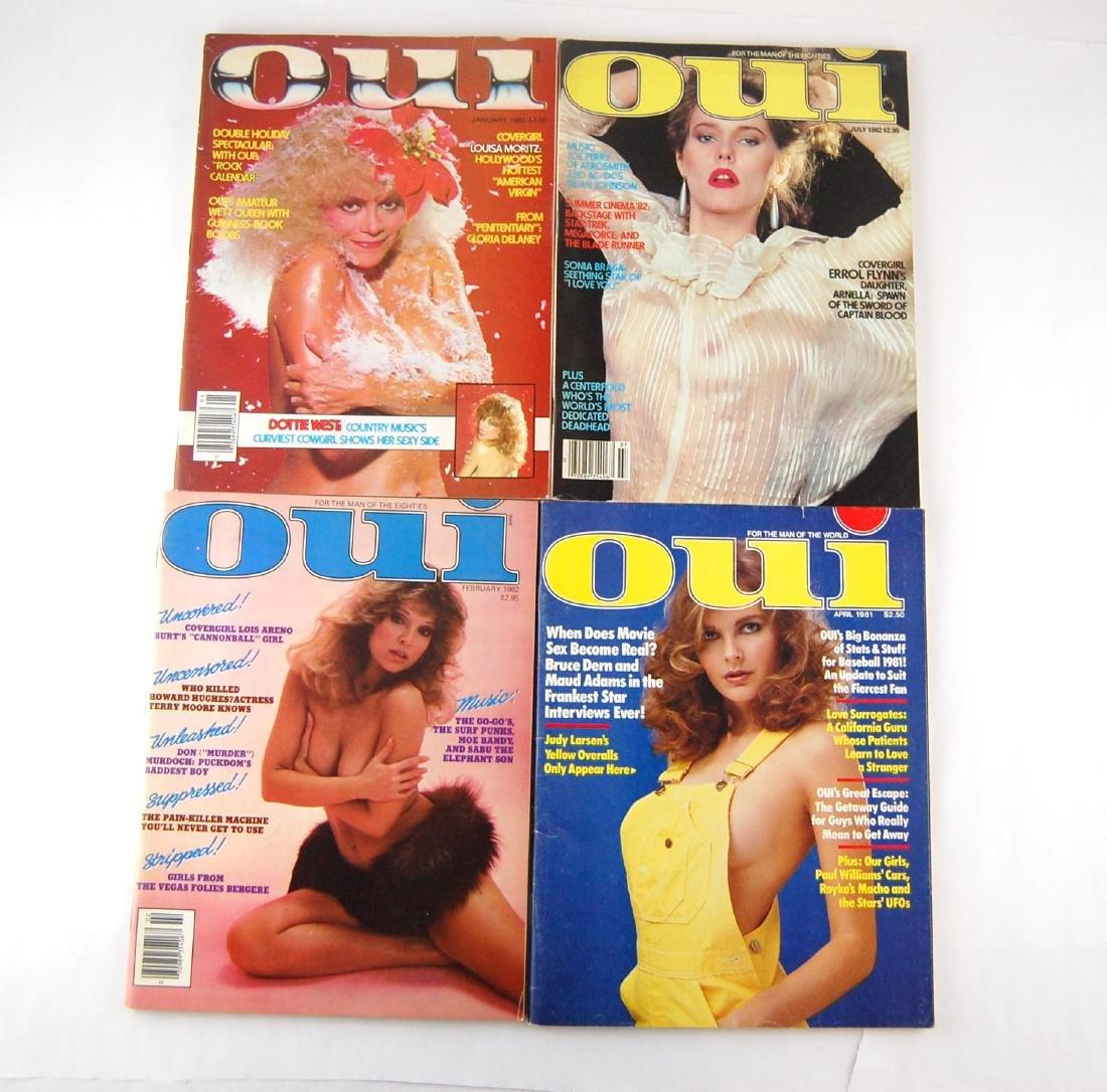 4 1980's Oui Adult Nude Erotic Men's Magazine