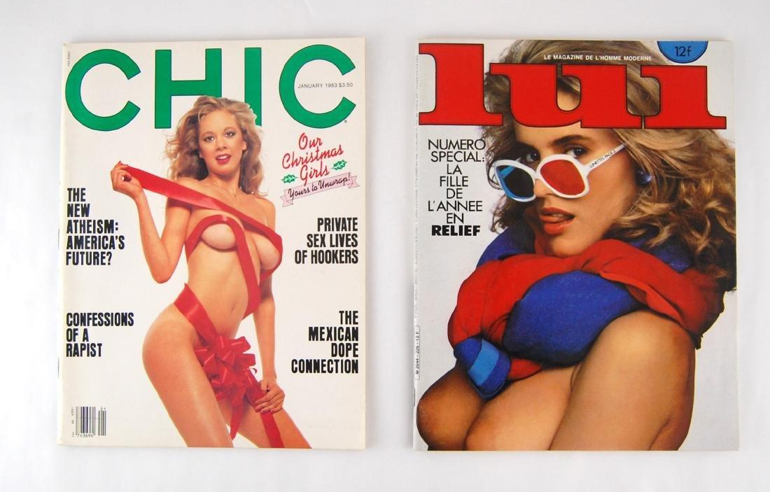 2 1980s Lui & Chic Adult Nude Erotic Men's Magazine