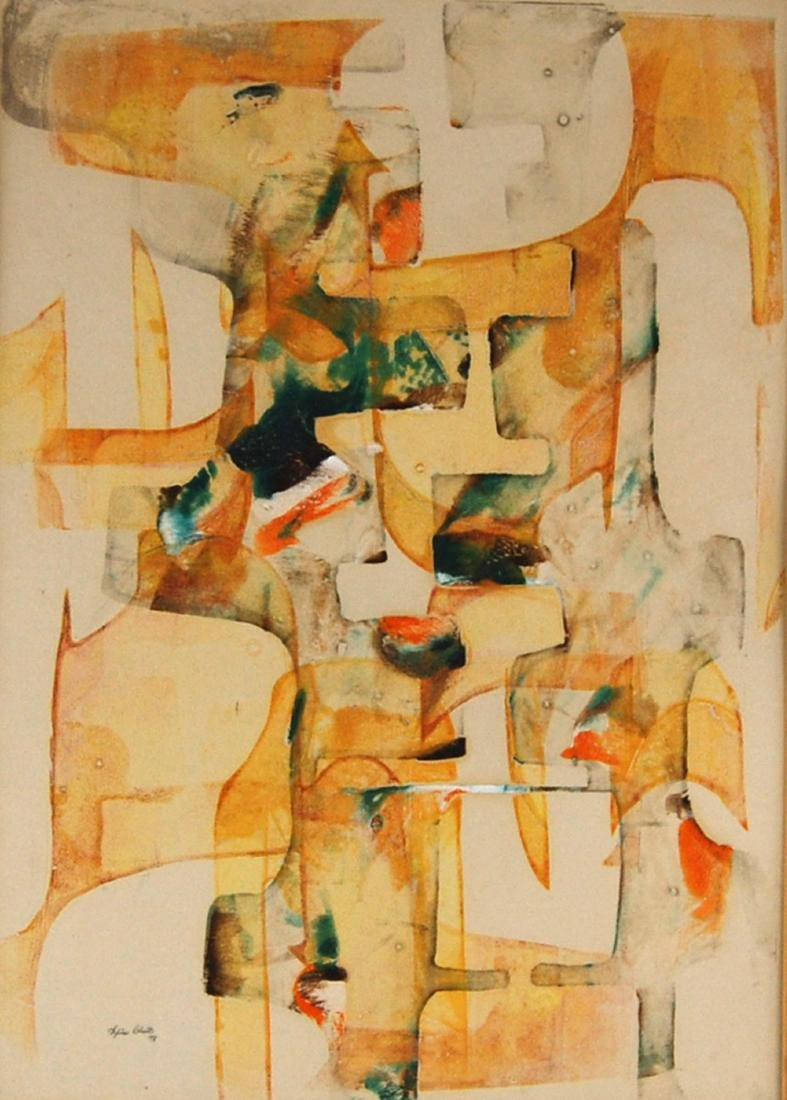 Sylvia Chait Abstract Yellow & Green Mixed Media