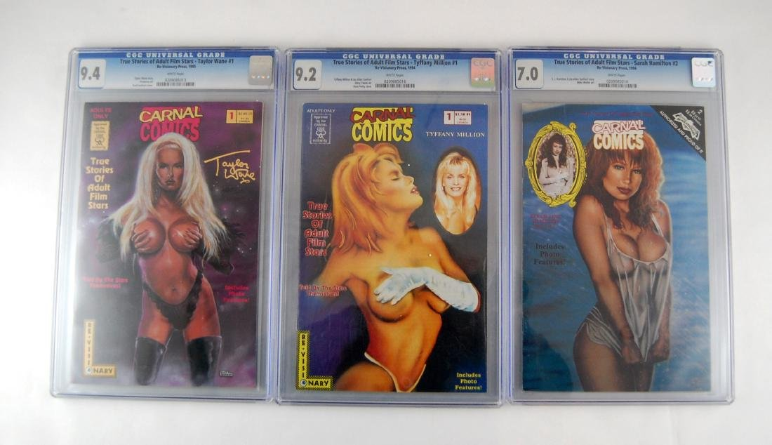 3 CGC Graded Carnal Adult Film Stars Stories Erotic
