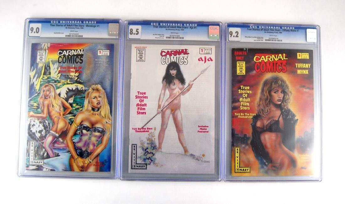 3 CGC Graded Carnal Adult Film Stars Stories Erotic