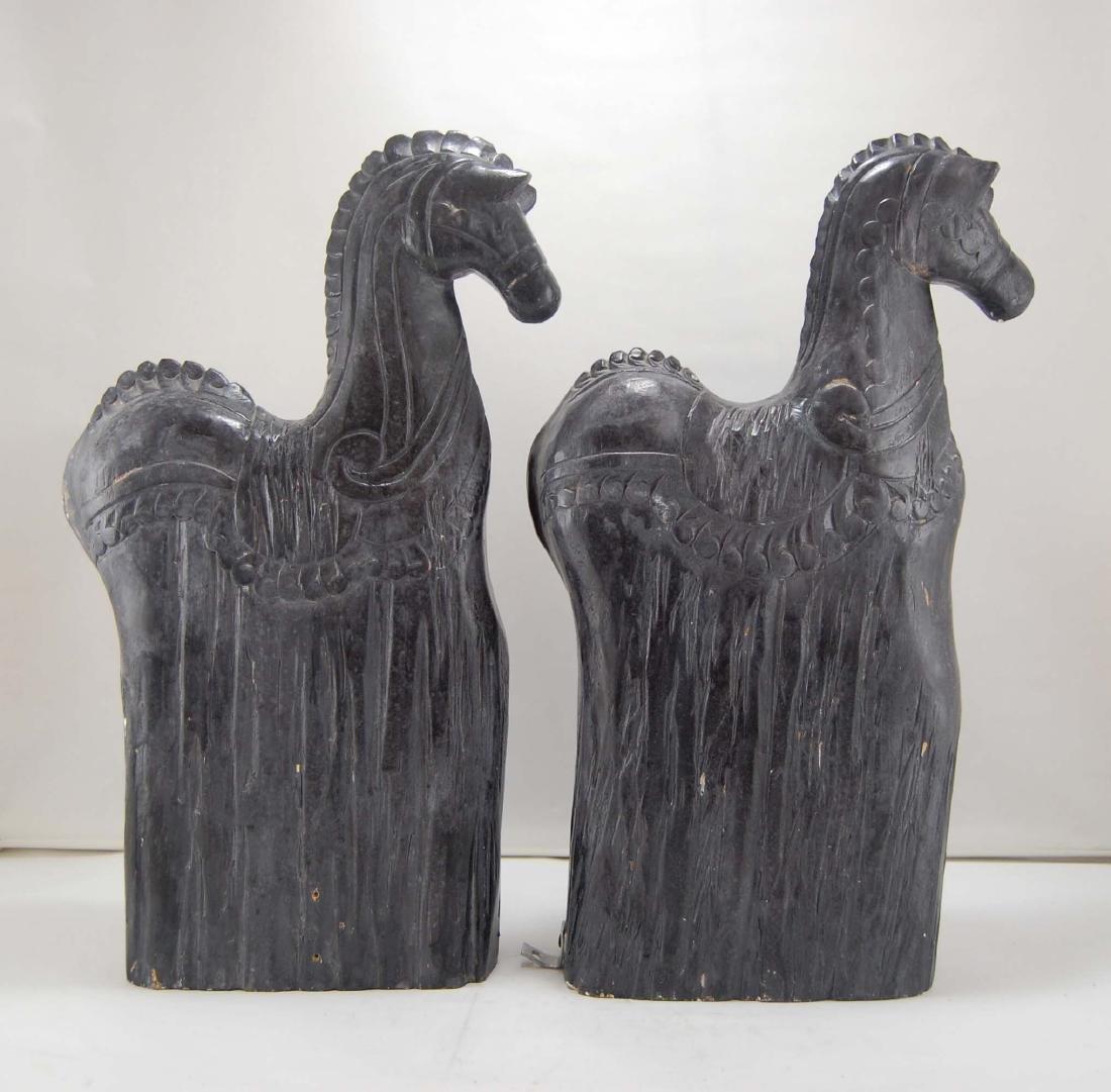 2 Contemporary Dark Wooden Carnival Horses