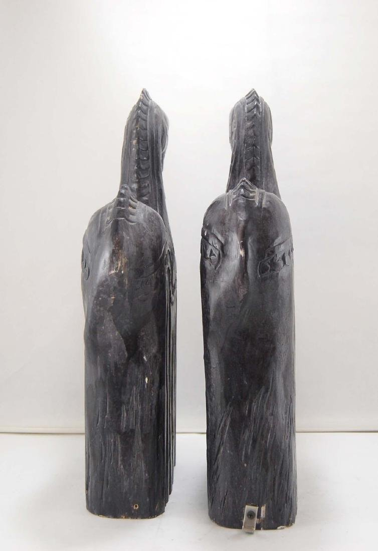 2 Contemporary Dark Wooden Carnival Horses - 3