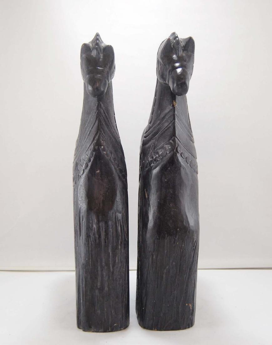 2 Contemporary Dark Wooden Carnival Horses - 4