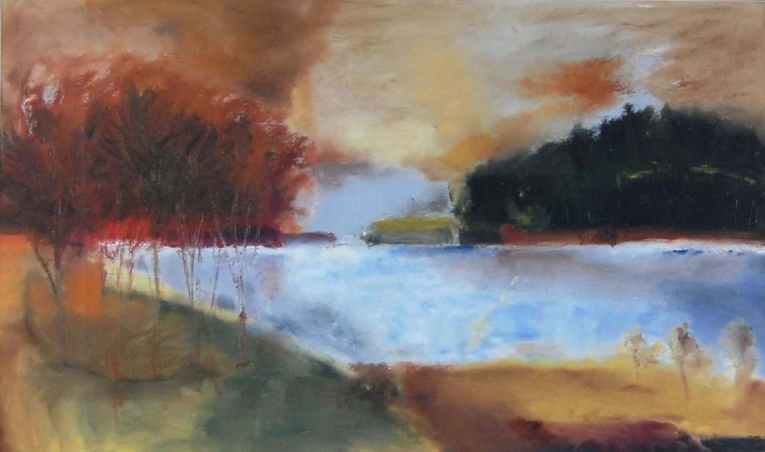 Autumn Lake Landscape Impressionist Art Print