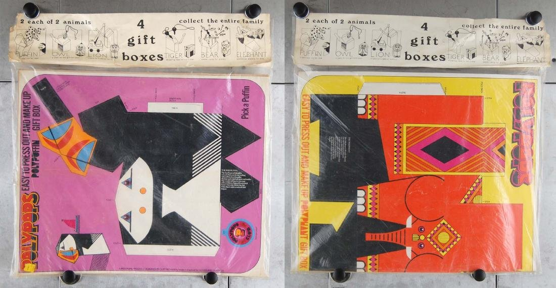 Vintage PolyPops Pop Out Puffin & Elephant Gift Boxes