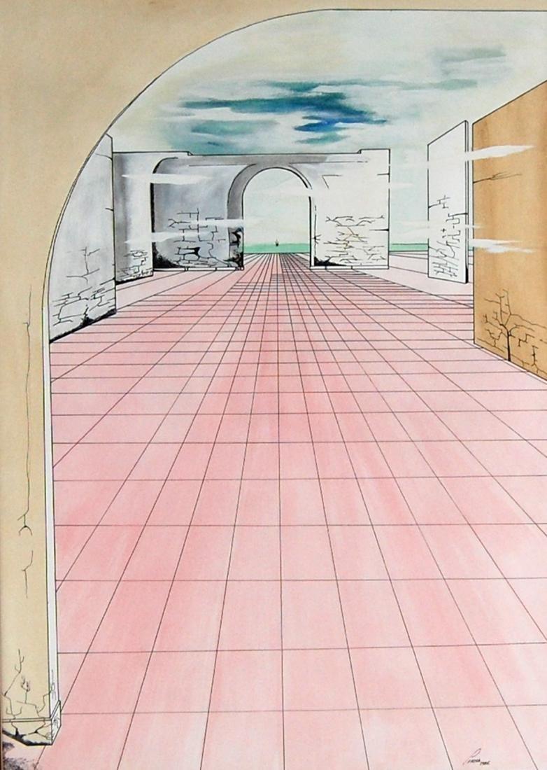Perera Contemporary Linear Watercolor & Ink Drawing