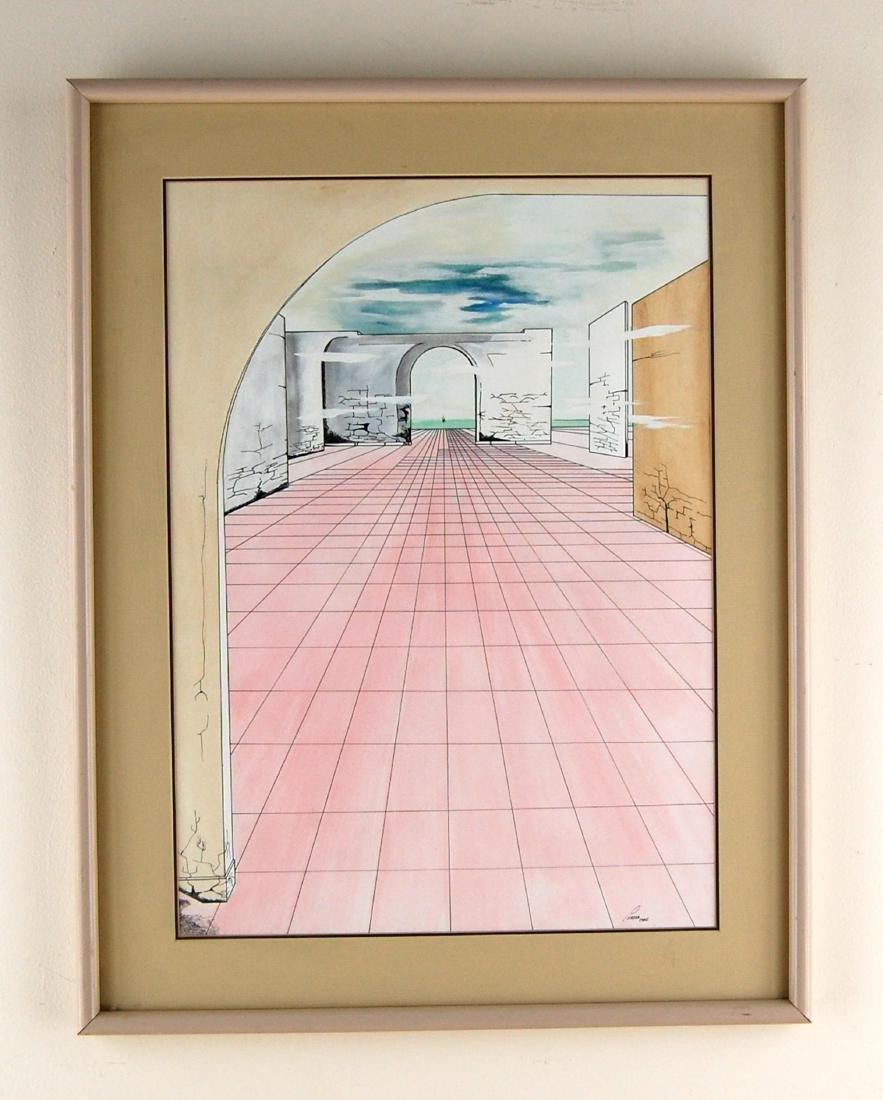 Perera Contemporary Linear Watercolor & Ink Drawing - 2