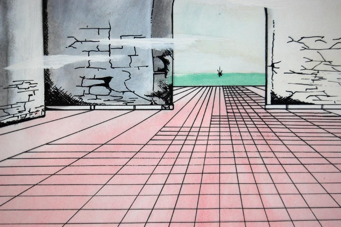 Perera Contemporary Linear Watercolor & Ink Drawing - 3