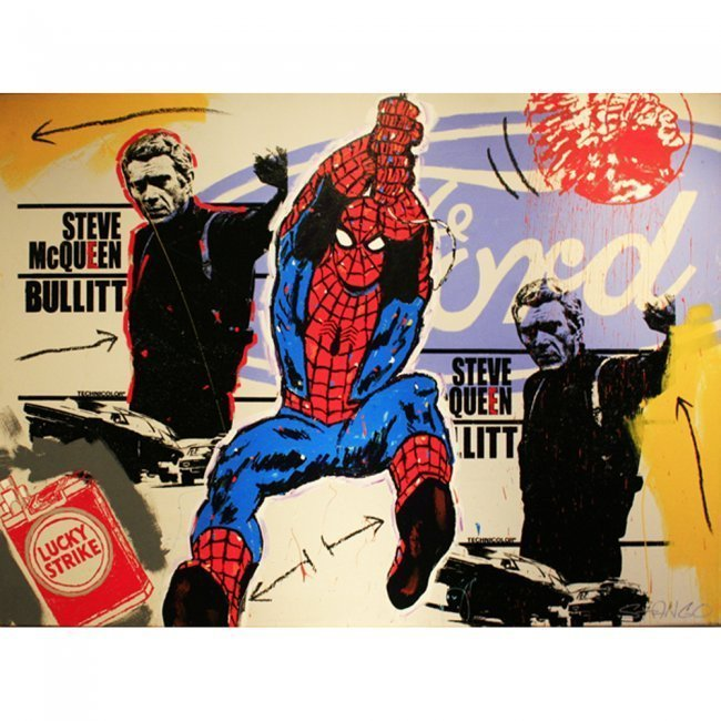 Spiderman with Steve McQueen Signed by John Stango