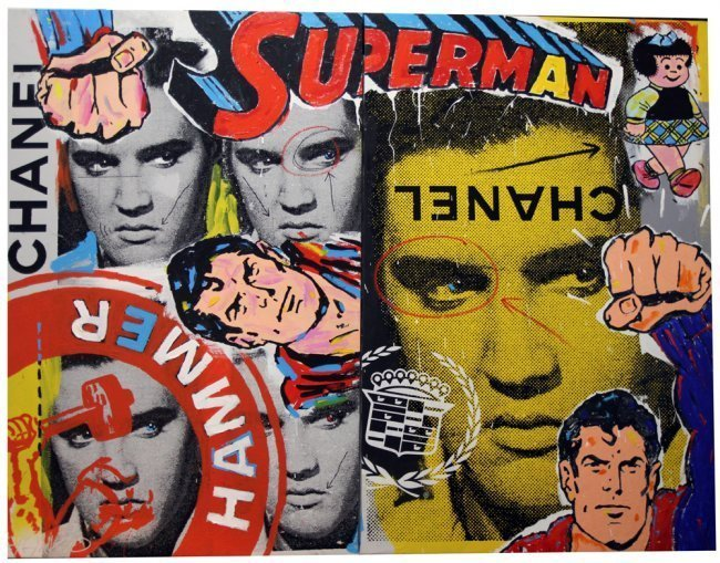 2 Pc Canvas Panels 57x78 Elvis/Superman by John Stango