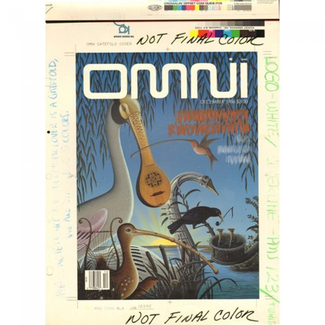 Omni Production Art December 1986 Cover Draft & Mag Lot