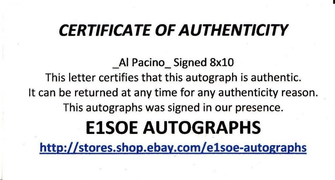 Al Pacino Signed The Godfather Part III 8x10 Photo(Ex) - 3