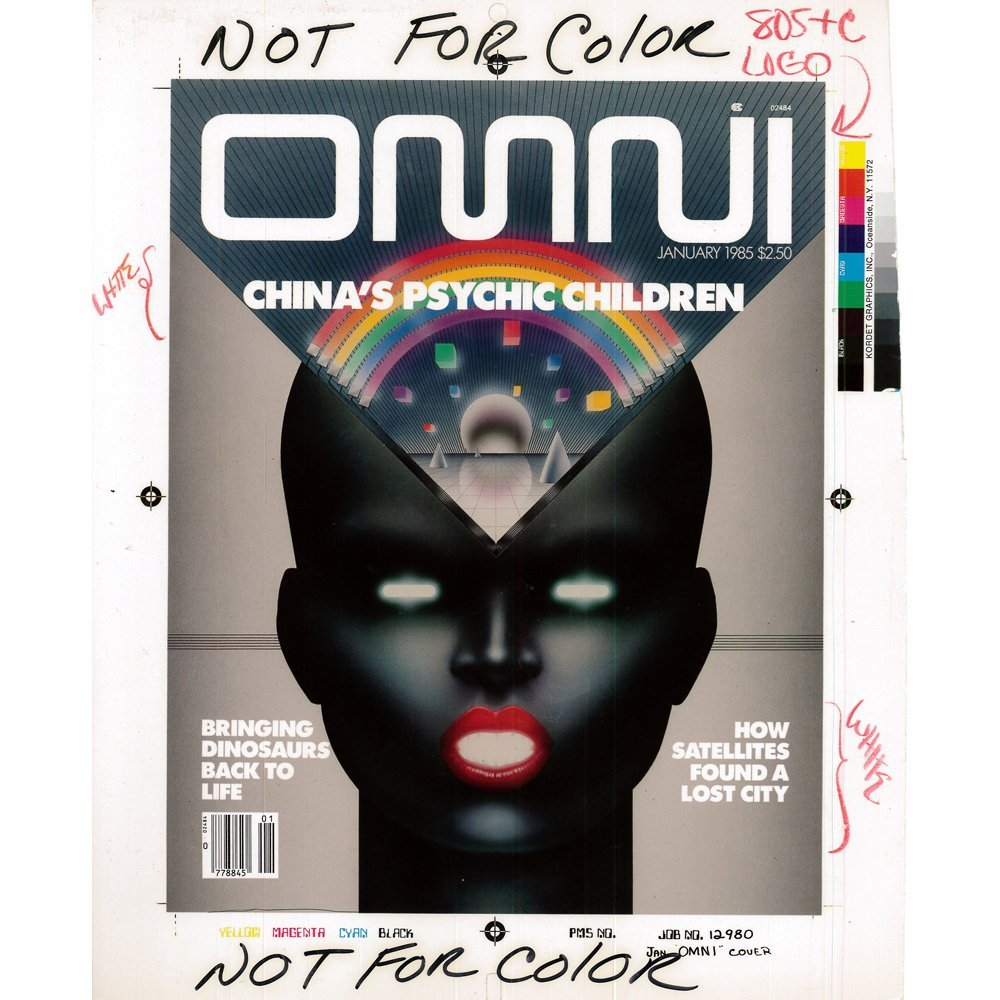 OMNI Production Art January 1985 Cover Draft(Excellent)
