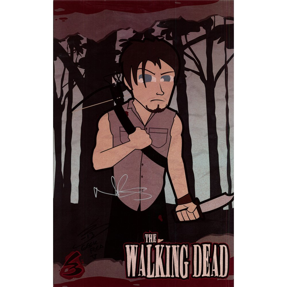 Norman Reedus Signed 10.5x16.5 Walking Dead Poster(Ex)