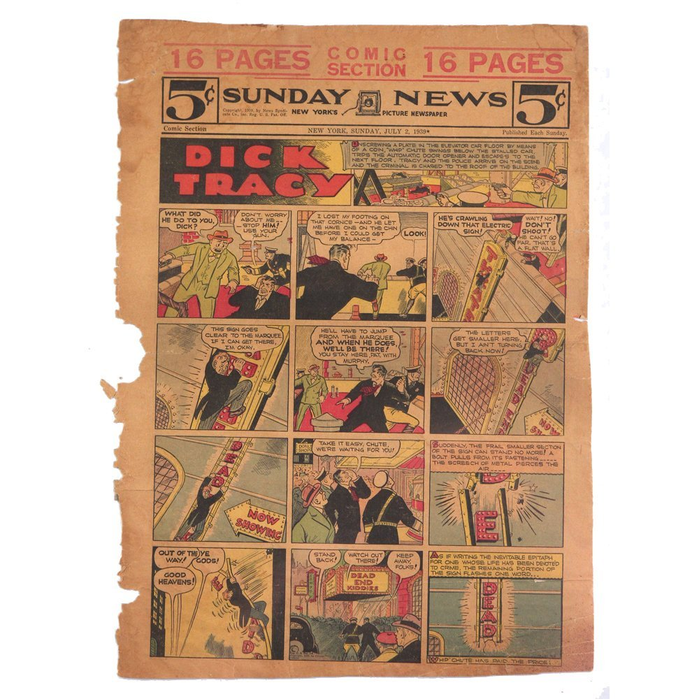 Original Dick Tracy Sunday New July 2 1939 Comic