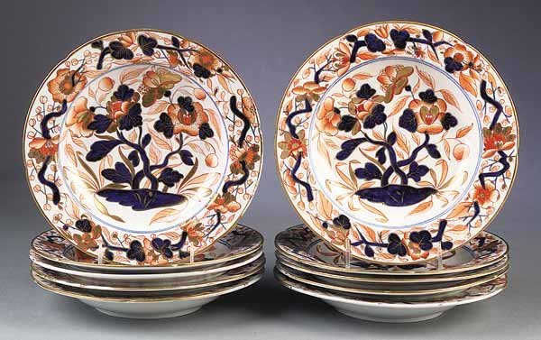 "0004: Ten Antique English ""Imari"" Porcelain Soup Plates"
