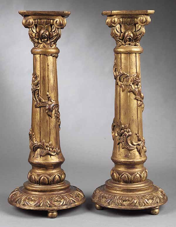 0006: Pair of Italian Carved and Giltwood Pedestals
