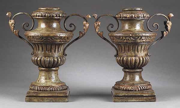 0007: Pair of Italian Carved and Painted Wood Urns