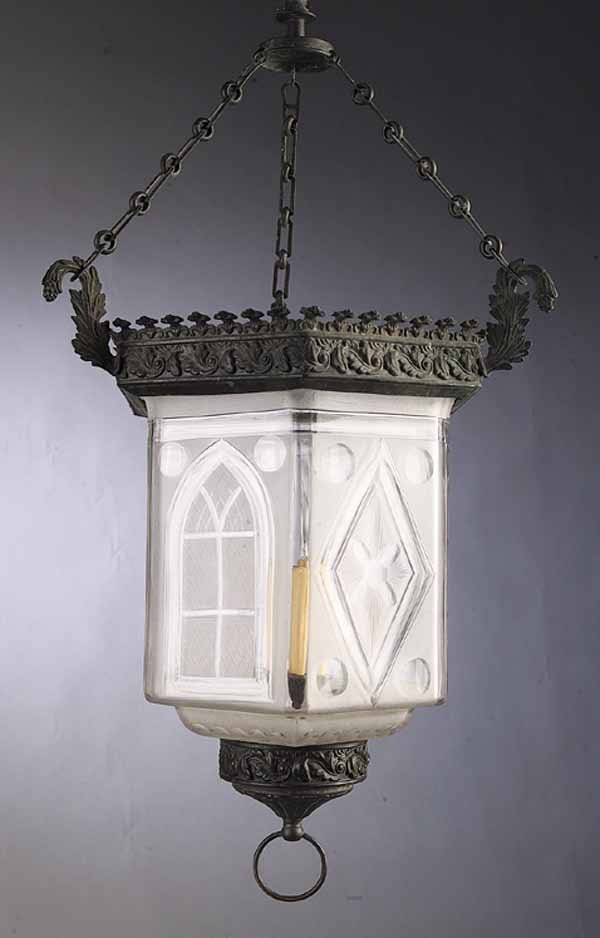 0009: English Patinated Brass, Glass Hall Lantern