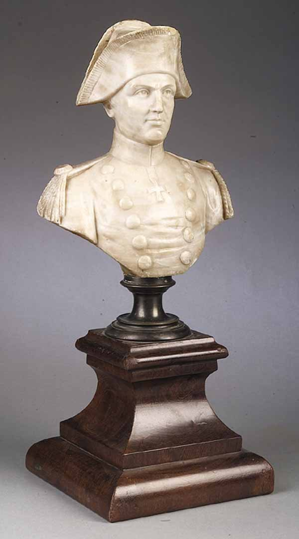 0017: Miniature Carved Alabaster Bust Military Officer