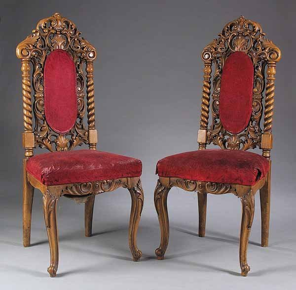 0019: Pair Rococo Revival Carved Mahogany Hall Chairs