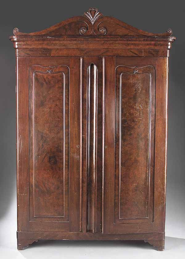 0024: Louis Philippe Figured Walnut Armoire