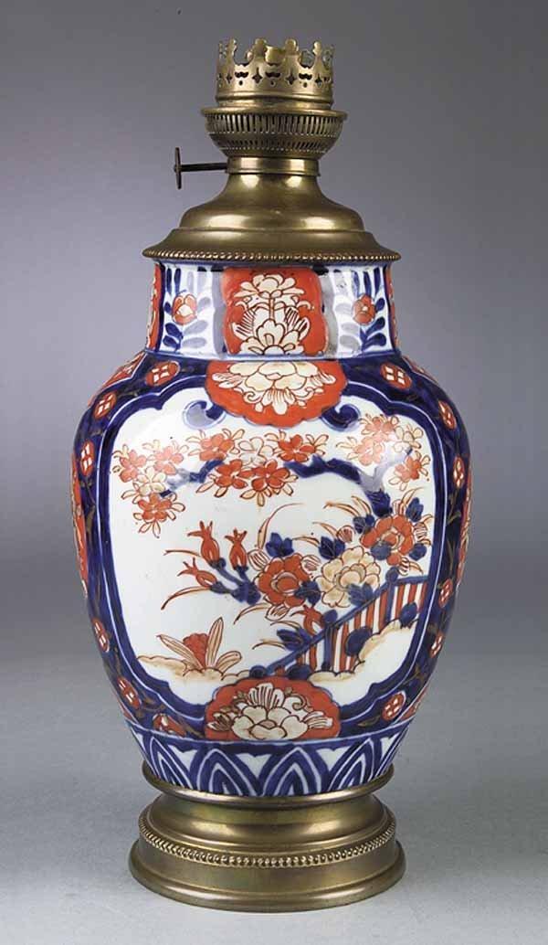 0027: Antique Imari Porcelain Vase Mounted as Oil Lamp