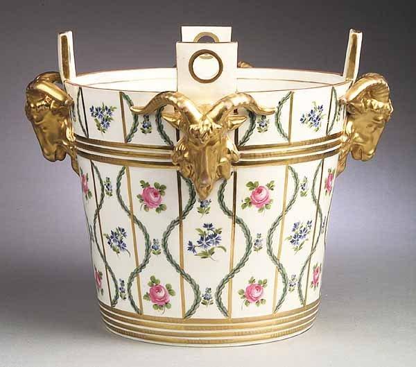 0565: Dresden Porcelain Ram's Head Mounted Jardiniere