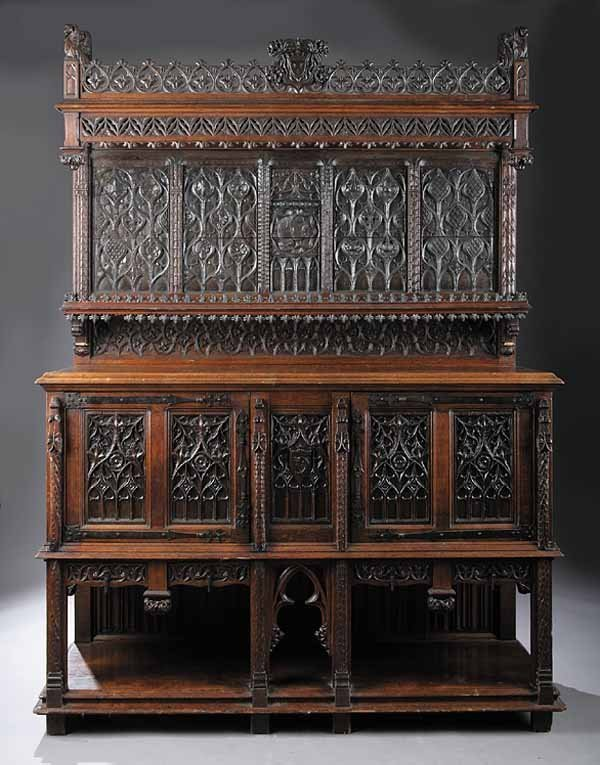 730: Gothic Revival Carved Oak Court Cupboard