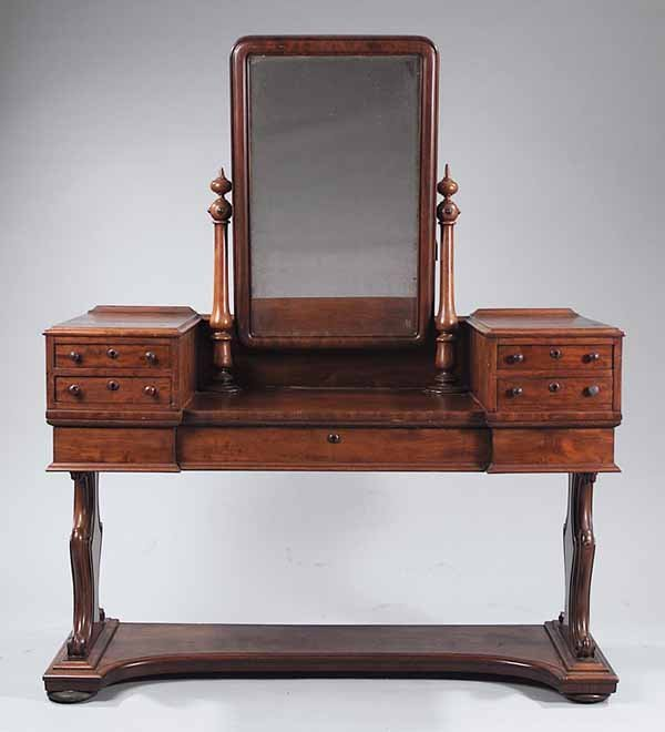 732: English Carved Mahogany Dressing Table