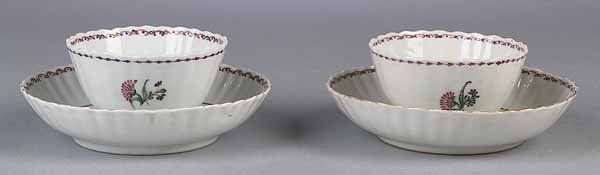 738: Two Chinese Export Porcelain Tea Bowls, Saucers