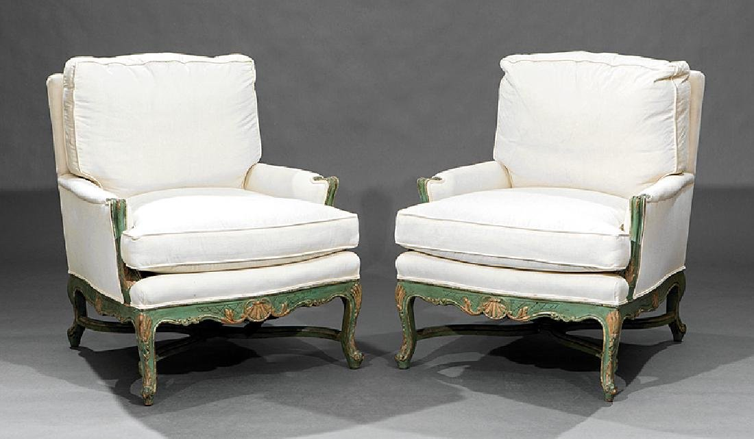 Pair of Louis XV-Style Paint-Decorated Bergeres