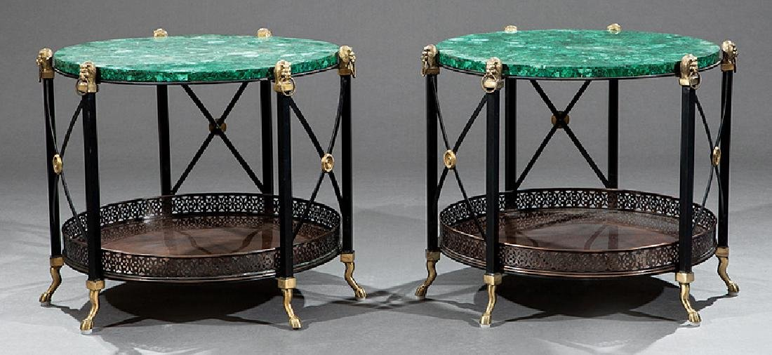 Pair of Empire-Style Bronze and Iron Low Tables